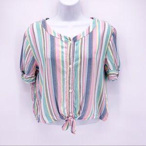 Dip Pastel Striped Cropped Button Down Blouse XL